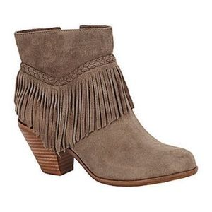 Leather Gianni Bini Fay Fringed Ankle Booties